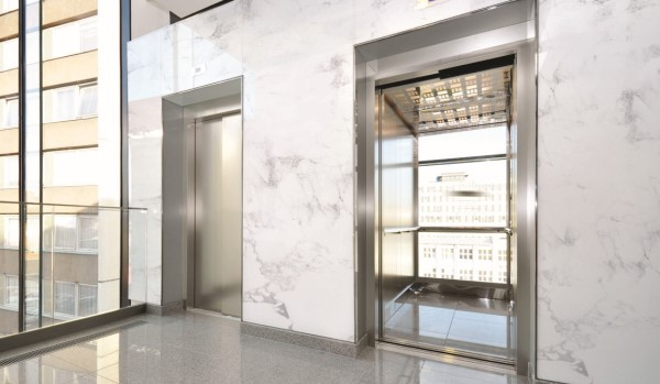 White marble elevator